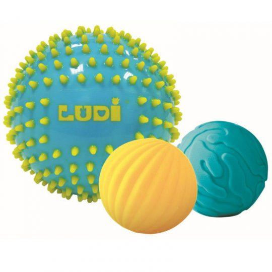 Conjunto 3 pelotas sensoriales bicolor - Turquesa/Amarillo -