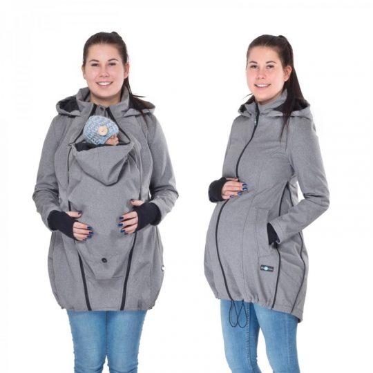 Abrigo de porteo y embarazo largo 3 en 1 Softshell - Gray Melange -
