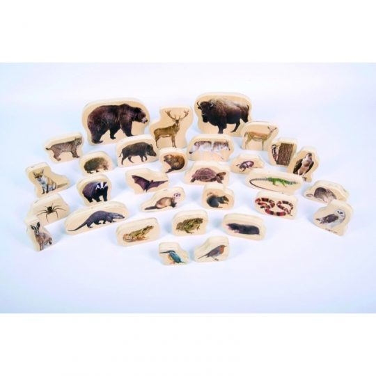 Bloques de madera con animales