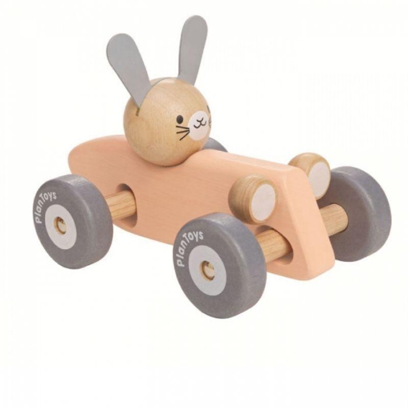 Coche carreras vintage conejo PlanToys