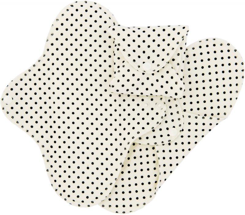 Compresas de tela Regular (Pack 3) - Lunares Negros -