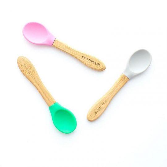 Cucharas Bamboo con punta de silicona EcoRascals - Gris, rosa y verde - (Pack de 3)