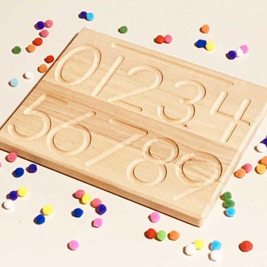 Tablero de trazado con hendidura Montessori - Números -