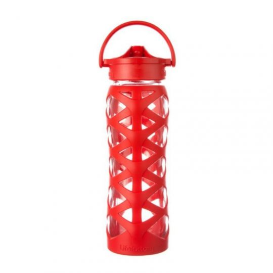 Botella 650 ml Lifefactory Axis Straw Cap - Charged red -