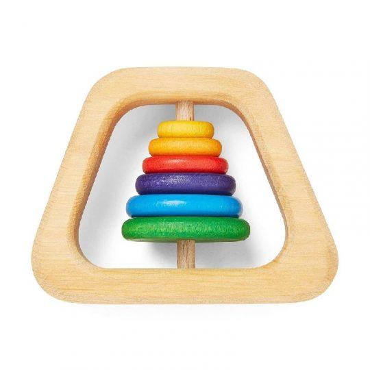 Sonajero de madera Piramide - arco iris -