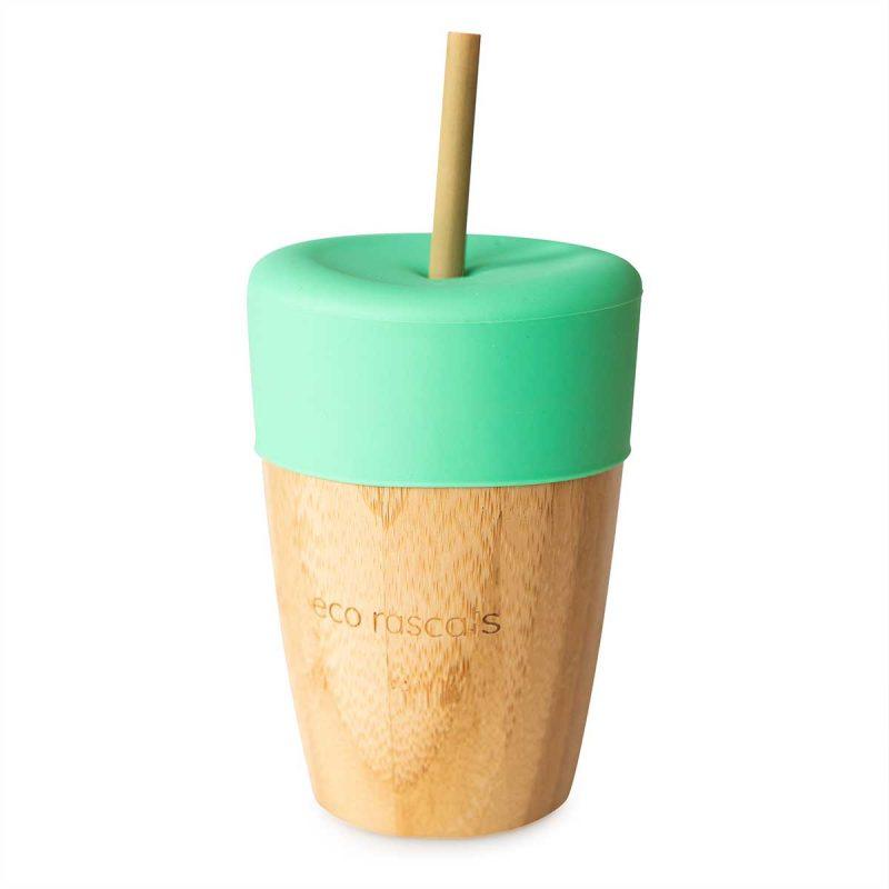 Vaso Bamboo con tapa + 2 pajitas reutilizables de bambú (varios colores)