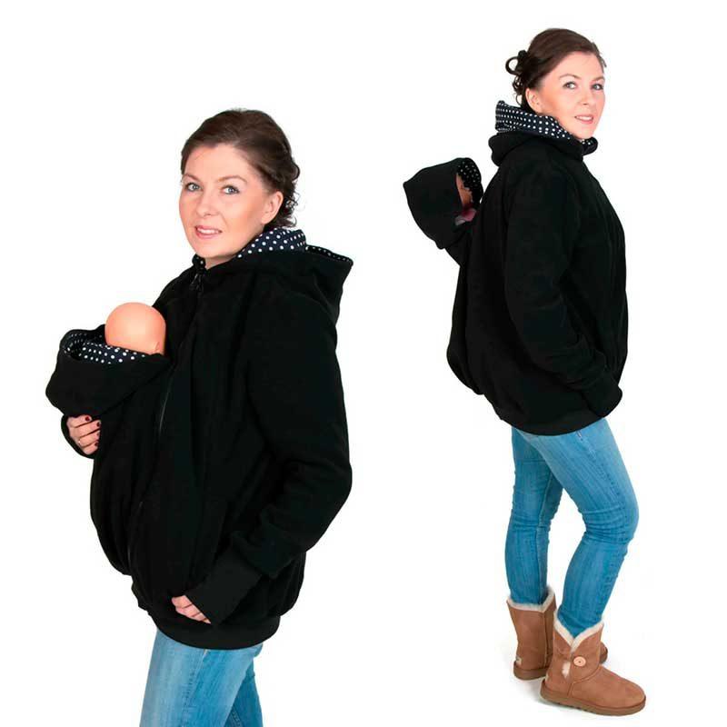 Abrigo de embarazo y porteo polar 4 en 1 Koala - Negro/Polka Dots -