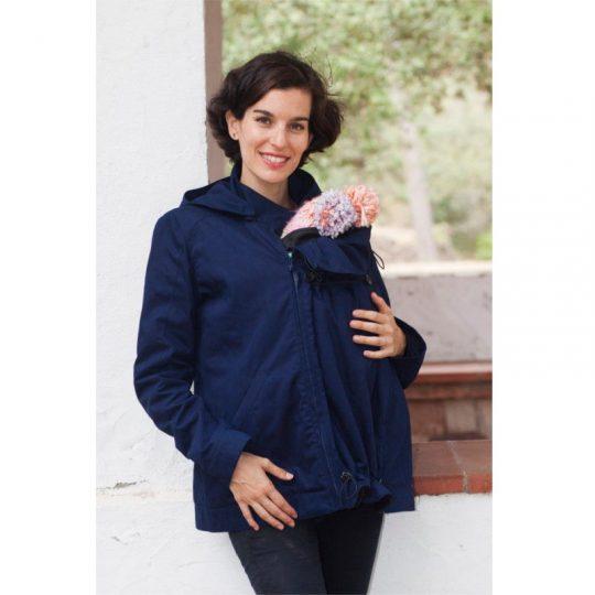 Abrigo de porteo y embarazo Momawo 4 en 1 Azul Marino