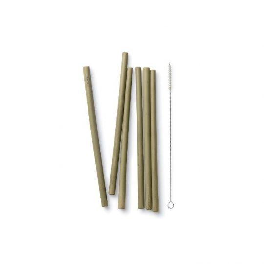 Pajitas reutilizables de bambú  - pack de 6 + cepillo limpiador-
